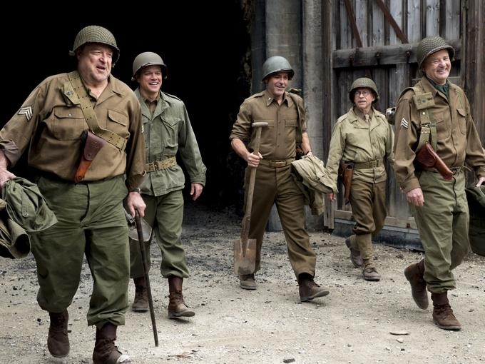 John Goodman, Matt Damon, George Clooney, Bob Balaban, Bill Murray, movie, The Monuments Men