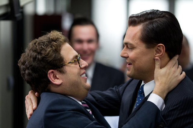 Jonah Hill, Leonardo DiCaprio in Martin Scorsese, movie, The Wolf of Wall Street