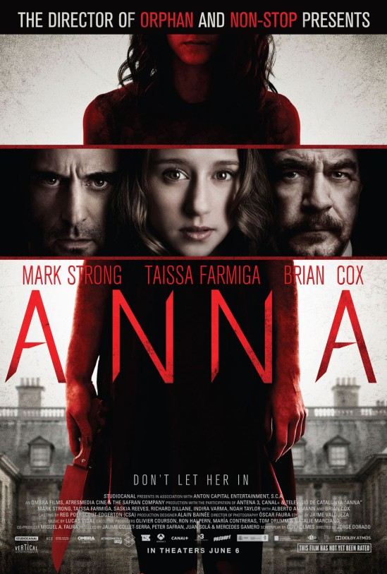 Anna, Mindscape, movie, poster, Mark Strong, Taissa Farmiga, Brian Cox