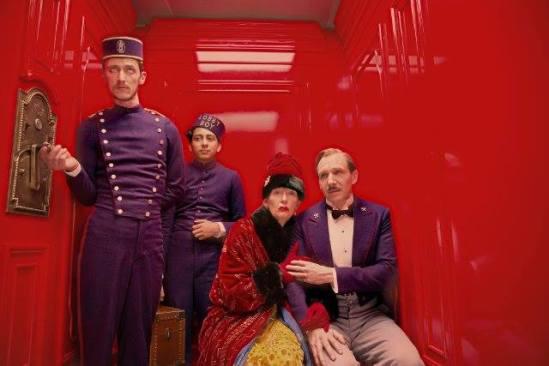Tilda Swinton, Ralph Fiennes, The Grand Budapest Hotel, elevator, Tony Revolori