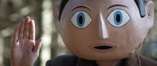 Frank, movie, still, Michael Fassbender, papier-mache head