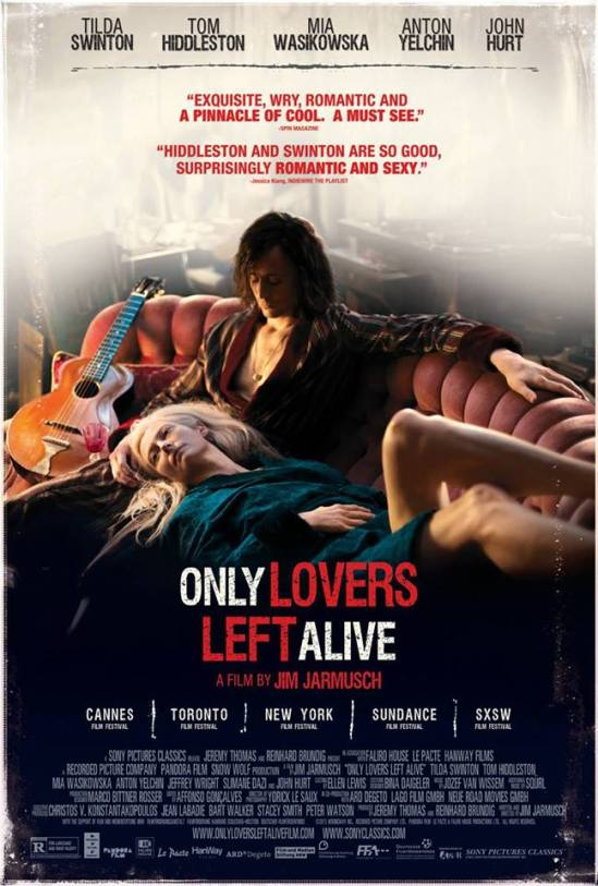 Only Lovers Left Alive, movie, poster, vampires, Tom Hiddleston, Tilda Swinton