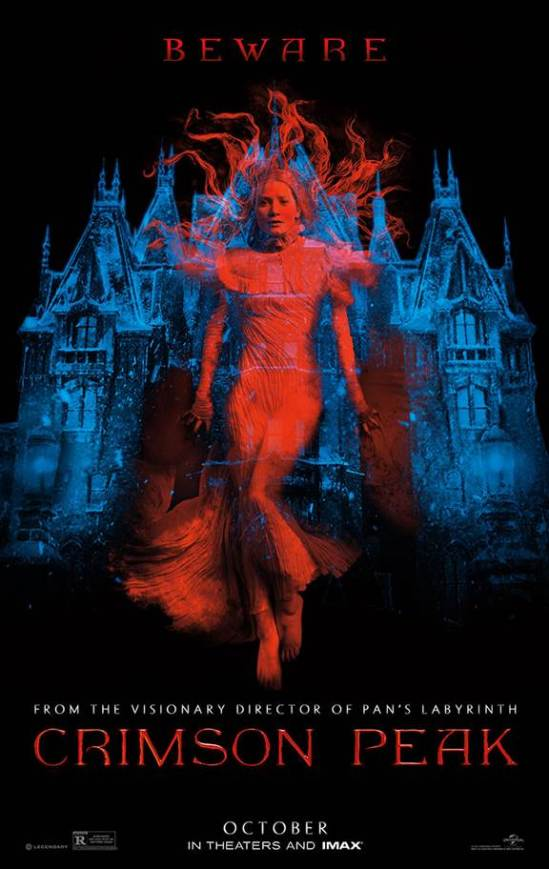 Crimson Peak, Guillermo del Toro, Tom Hiddleston, Mia Wasikowska, Jessica Chastain, movie, gothic horror, poster